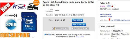 Adata High Speed Camera Memory Card, 32 GB SD HC Class 10