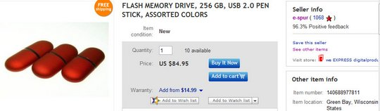 FLASH MEMORY DRIVE, 256 GB, USB 2