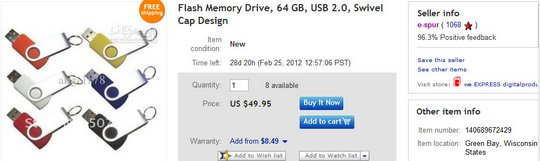 Flash Memory Drive, 64 GB, USB 2