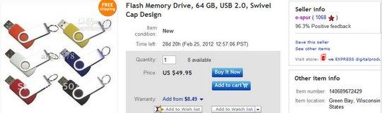 Flash Memory Drive, 64 GB, USB 2