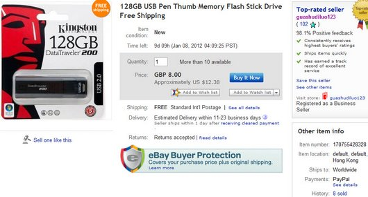 128GB USB Pen Thumb Memory Flash Stick Drive Free Shipping