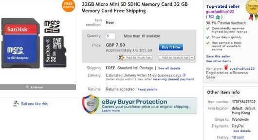 32GB Micro Mini SD SDHC Memory Card 32 GB Memory Card Free Shipping