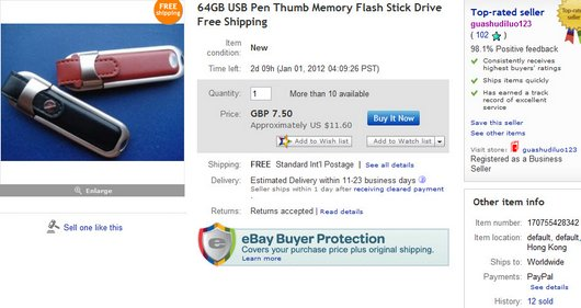 64GB USB Pen Thumb Memory Flash Stick Drive Free Shipping