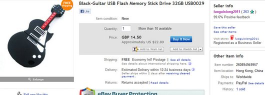Black-Guitar USB Flash Memory Stick Drive 32GB USB0029