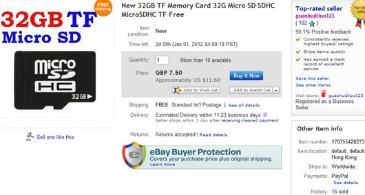 New 32GB TF Memory Card 32G Micro SD SDHC MicroSDHC TF Free