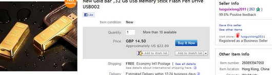 New Gold Bar ,32 GB USB Memory Stick Flash Pen Drive USB002