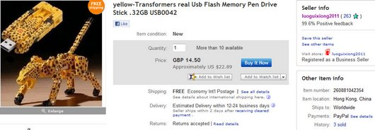 yellow-Transformers real Usb Flash Memory Pen Drive Stick