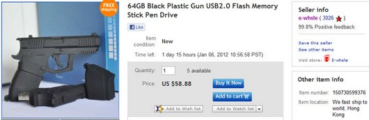 64GB Black Plastic Gun USB2