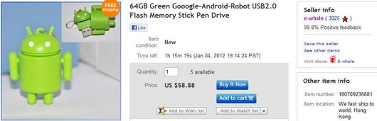 64GB Green Gooogle-Android-Robot USB2