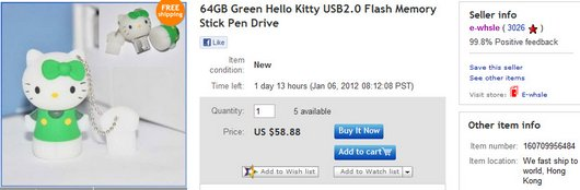 64GB Green Hello Kitty USB2