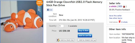 64GB Orange Clownfish USB2