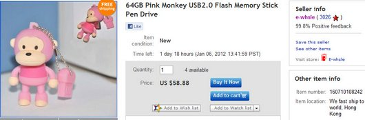 64GB Pink Monkey USB2