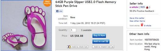64GB Purple Slipper USB2
