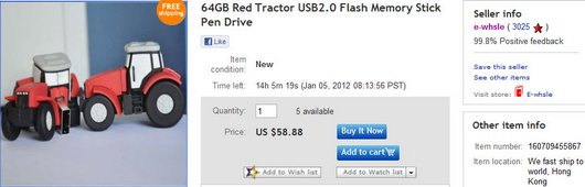 64GB Red Tractor USB2