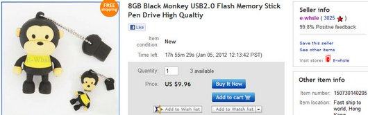 8GB Black Monkey USB2