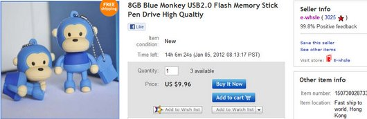 8GB Blue Monkey USB2
