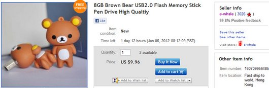8GB Brown Bear USB2