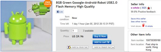 8GB Green Gooogle-Android-Robot USB2