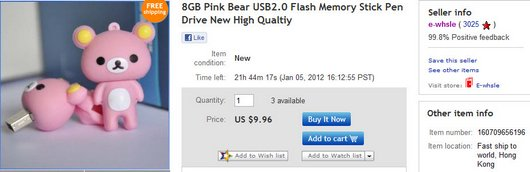 8GB Pink Bear USB2