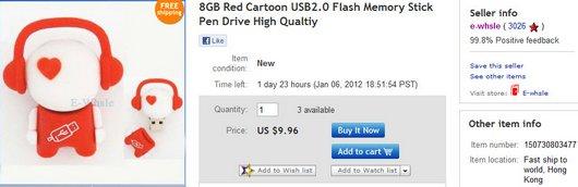 8GB Red Cartoon USB2