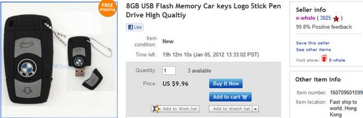 8GB USB Flash Memory Car keys Logo Stick Pen Drive