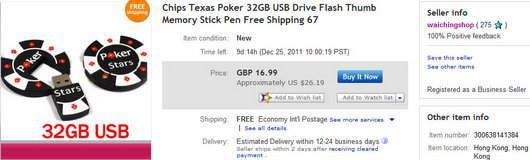 Chips Texas Poker 32GB USB Drive Flash Thumb Memory Stick Pen
