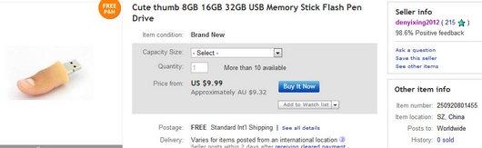 Cute thumb 8GB 16GB 32GB USB Memory Stick Flash Pen