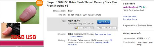 Finger 32GB USB Drive Flash Thumb Memory Stick Pen