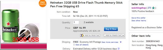 Heineken 32GB USB Drive Flash Thumb Memory Stick Pen