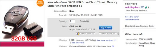 Mercedes-Benz 32GB USB Drive Flash Thumb Memory Stick Pen