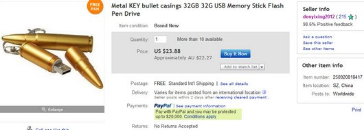 Metal KEY bullet casings 32GB 32G USB Memory Stick Flash Pen Drive