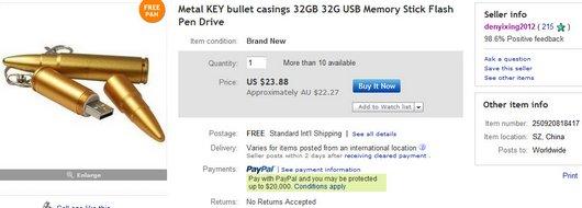 Metal KEY bullet casings 32GB 32G USB Memory Stick Flash Pen Drive