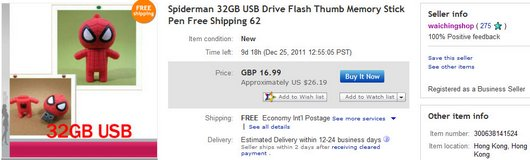 Spiderman 32GB USB Drive Flash Thumb Memory Stick Pen Free Shipping