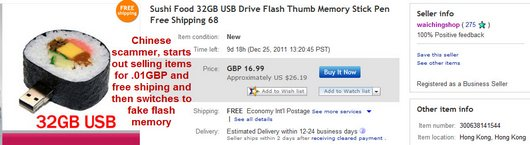 Sushi Food 32GB USB Drive Flash Thumb Memory Stick Pen Free Shipping